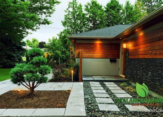 GTA-Landscaping-Alamosa-Dr.-Toronto-Heated-walkway-LED-lights-natural-stone